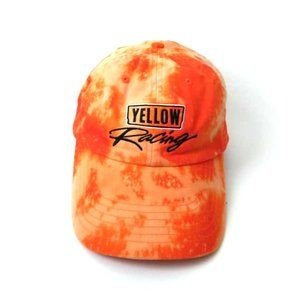 Upcycled Bleached Tie Dye Yellow Racing Dad Cap